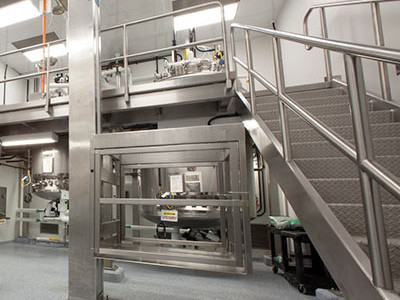 Stainless Steel Stairs and Rails attached to Platform in Pharmaceutical Clean Room