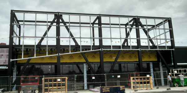 Structural Steel for Front Entryway of New Retail Building