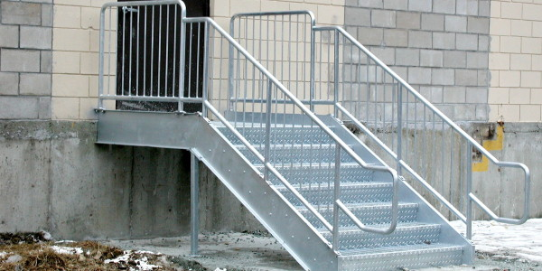 Galvanized Stairs with OSHA Compliant Handrails